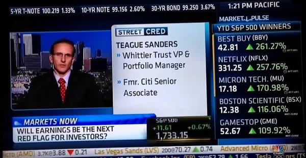 CNBC – Teague Sanders - Do Q3 earnings matter? - Whittier Trust